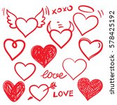 vector hearts set. hand drawn | Shutterstock .eps vector #578425192