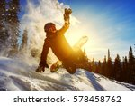 snowboarder jumping through air ... | Shutterstock . vector #578458762