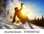 snowboarder jumping through air ... | Shutterstock . vector #578458762