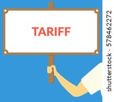tariff. hand holding wooden sign