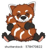 happy red panda sit and hug her ... | Shutterstock . vector #578470822