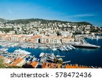 yachts docked in the port of...   Shutterstock . vector #578472436