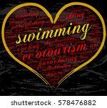 swimming. word cloud  heart ... | Shutterstock .eps vector #578476882