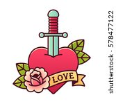 traditional heart and dagger... | Shutterstock . vector #578477122