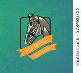 horse head logo on grunge green ... | Shutterstock .eps vector #578480722