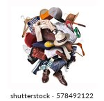 big heap of different clothes... | Shutterstock . vector #578492122
