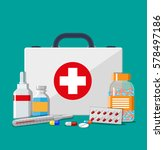 medical first aid kit with... | Shutterstock .eps vector #578497186
