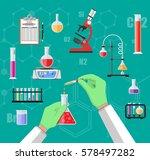 science experiment in... | Shutterstock .eps vector #578497282