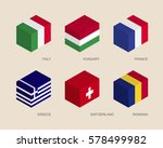 set of isometric 3d boxes with... | Shutterstock .eps vector #578499982