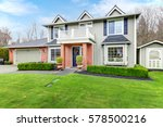 lovely pale green colonial home ... | Shutterstock . vector #578500216