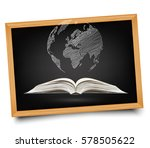 globe on open book on... | Shutterstock .eps vector #578505622