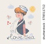sailor girl  hand drawn vector...   Shutterstock .eps vector #578511712