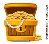 Wooden Treasure Chest With Gol...