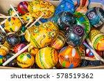 coluorful wooden maracas at... | Shutterstock . vector #578519362