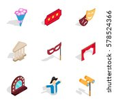 entertainment icons set.... | Shutterstock .eps vector #578524366