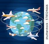 airplanes around the world...   Shutterstock .eps vector #578524666