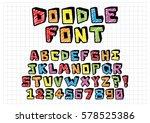 vector hand drawn doodle font... | Shutterstock .eps vector #578525386