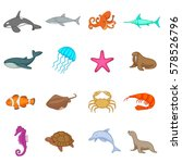 ocean inhabitants icons set.... | Shutterstock .eps vector #578526796
