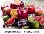 sangria in pitcher with citrus... | Shutterstock . vector #578527546