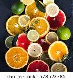 sliced citrus fruits  vitamins  ... | Shutterstock . vector #578528785