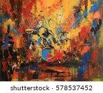 drummer on motley multicolored... | Shutterstock . vector #578537452