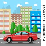 urban cityscape with red car.... | Shutterstock . vector #578539915