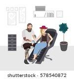 tattoo master at work.... | Shutterstock .eps vector #578540872