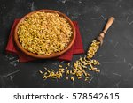 sprouted wheat germ in ceramic... | Shutterstock . vector #578542615