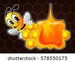 cartoon funny bee vector on the ... | Shutterstock .eps vector #578550175