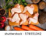 fresh raw chicken wings on... | Shutterstock . vector #578551342