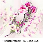frame with spring branch of... | Shutterstock .eps vector #578555365