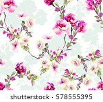 pattern with spring flowers... | Shutterstock .eps vector #578555395