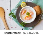 salmon fish soup with cream and ... | Shutterstock . vector #578562046