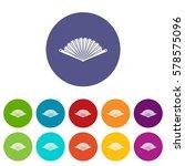 opened oriental fan set icons... | Shutterstock . vector #578575096
