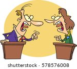 cartoon people having a debate | Shutterstock .eps vector #578576008