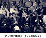diverse people clapping hands... | Shutterstock . vector #578580196