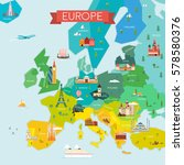 map of europe with names. | Shutterstock . vector #578580376