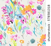 colorful sketch of flower mix   ... | Shutterstock .eps vector #578581318