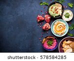 colorful hummus bowls... | Shutterstock . vector #578584285