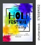 happy holi festival party... | Shutterstock .eps vector #578589052