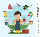 gardener watering flowers with...   Shutterstock .eps vector #578590816
