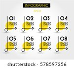 yellow infographics with simple ... | Shutterstock .eps vector #578597356