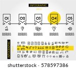 yellow linear infographic... | Shutterstock .eps vector #578597386
