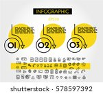 yellow linear infographic set... | Shutterstock .eps vector #578597392