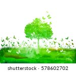 watercolor nature tree and... | Shutterstock .eps vector #578602702