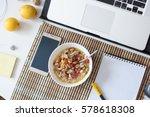healthy breakfast in front of... | Shutterstock . vector #578618308