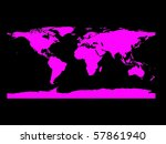 flat world map in black and magenta - stock photo
