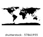 flat world map in black and white - stock photo