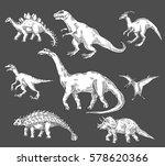 dinosaurs jurassic reptiles... | Shutterstock .eps vector #578620366