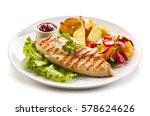 grilled chicken fillet  chips... | Shutterstock . vector #578624626